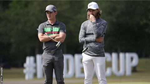 England golf players Tommy Fleetwood and Chris Paisley