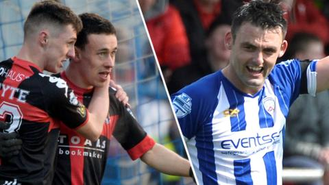 Crusaders duo Gavin Whyte and Paul Heatley and Coleraine striker Eoin Bradley