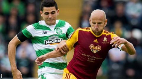 Tom Rogic (left) in action for Celtic against Dukla Prague