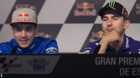 Maverick Vinales (left) and Jorge Lorenzo