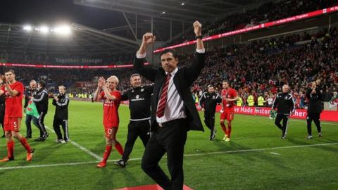 Chris Coleman at Cardiff City Stadium