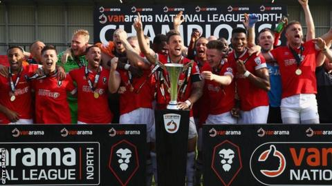 Salford City celebrate winning the National League North title in April 2018
