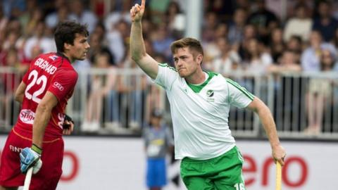 Shane O'Donoghue celebrates after equalising against Belgium