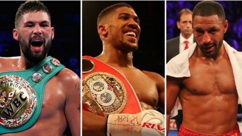 British boxers Tony Bellew, Anthony Joshua and Kell Brook