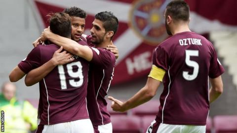 Hearts top the Premiership with five wins from five games
