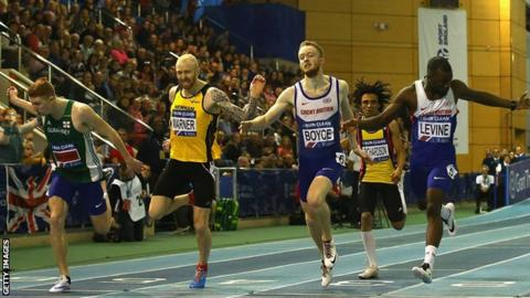 Cameron Chalmers (left) dips at the line to finish second in the British Indoor Championships