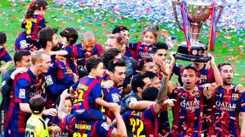 Barcelona celebrate winning last's season's La Liga title