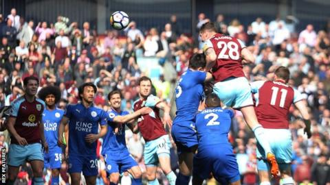 Defender Kevin Long scored his first Premier League goal for Burnley against Leicester