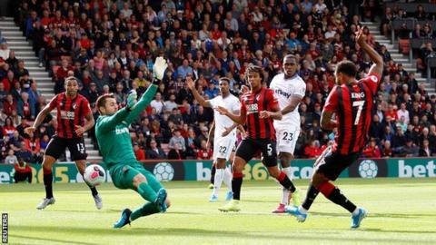 Joshua King scores against West Ham