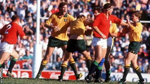 Australia and Lions players brawl in 1989