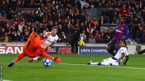 Barcelona against Tottenham in the Nou Camp