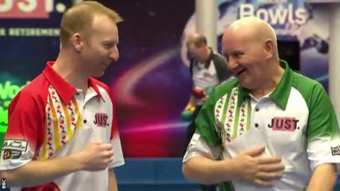 Nick Brett and Charlie Bence share a laugh after the match