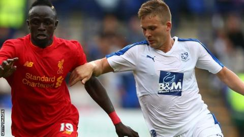 Jay Harris in action for Tranmere against Liverpool