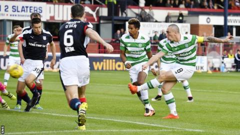 Scott Brown scores for Celtic against Dundee