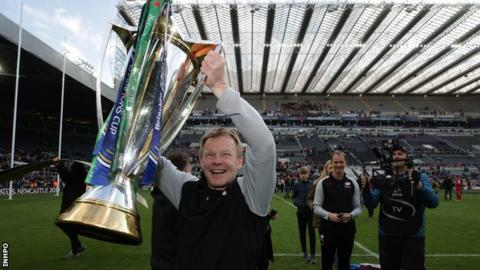 Mark McCall lifts the European Champions Cup trophy