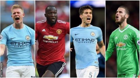 Kevin De Bruyne, Romelu Lukaku, John Stones and David de Gea in a collage picture