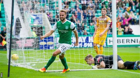 Andrew Shinnie celebrates scoring Hibs' first goal