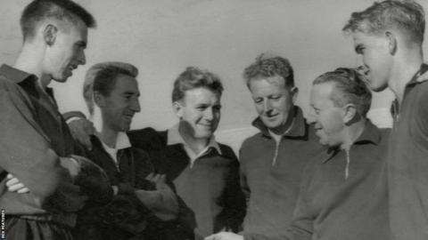 Phil Woosnam, Cliff Jones, Terry Medwin, Ivor Allchurch, Jimmy Murphy and Graham Moore.