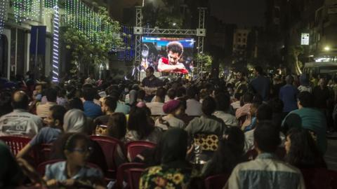 Many Egyptians watched the game on big screens in Cairo