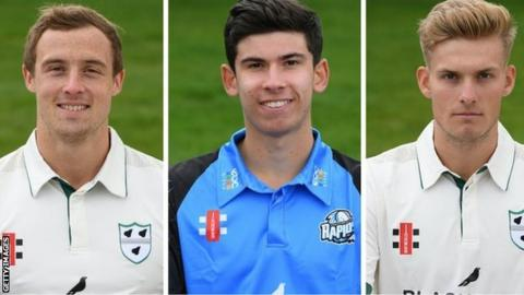 Worcestershire fast bowlers Charlie Morris (left), Pat Brown and Adam Finch