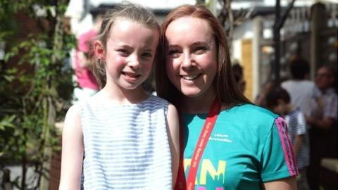 London Marathon millionth finisher Shannon Foudy and her daughter Catrin