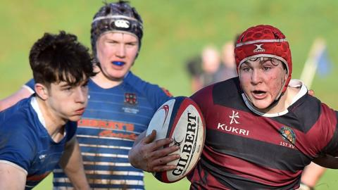 Tom Stewart of Belfast Royal Academy on the offensive during his team's third-round 41-8 victory at Portadown College
