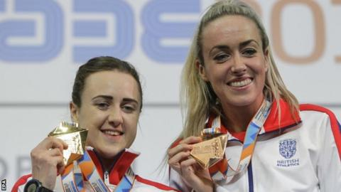 Laura Muir and Eilish McColgan with their European Indoor medals