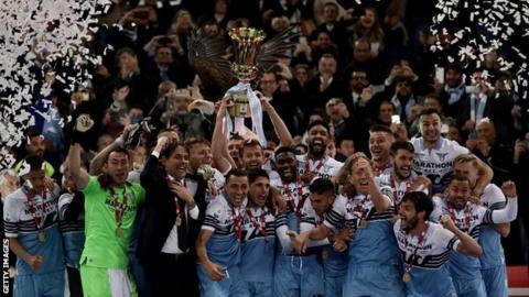 Lazio celebrate winning the Coppa Italia
