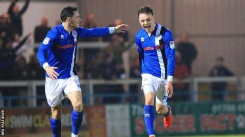 Ollie Rathbone scored Rochdale's second goal six minutes into the second half