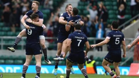 Scotland celebrate victory at the London Sevens