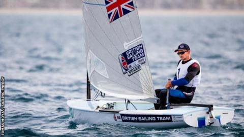 Olympic champion Finn class sailor Giles Scott on the water