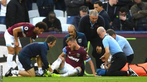 West Ham winger Andriy Yarmolenko receives treatment after tearing his Achilles against Tottenham