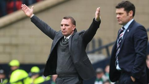 Celtic manager Brendan Rodgers and Rangers manager Graeme Murty