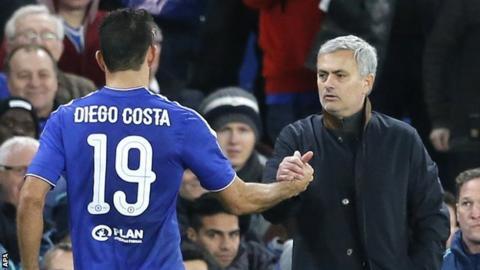 Diego Costa (left) and Jose Mourinho (right)