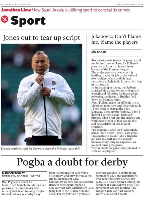 Independent back page on Saturday