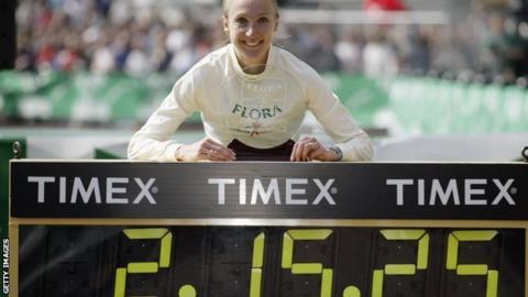 Paula Radcliffe after winning the 2003 London Marathon