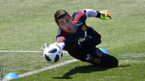Athletic Bilbao goalkeeper Kepa Arrizabalaga makes a save in training with Spain