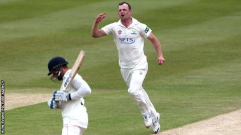 Glamorgan's Graham Wagg took two of the three Gloucestershire wickets to fall in their second innings