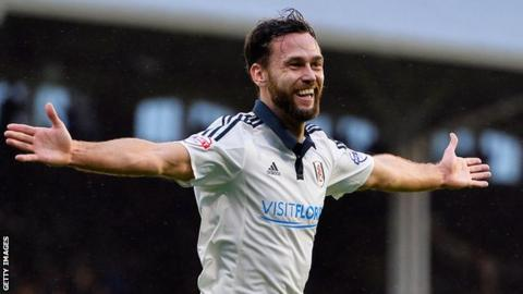 Fulham defender Michael Madl celebrates scoring his only goal for the club