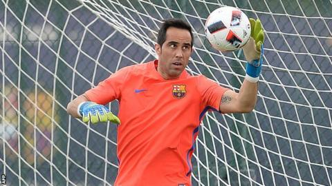 3fc50aff515 Bravo joined Barcelona from Real Sociedad in 2014. Manchester City have  signed goalkeeper Claudio Bravo from Barcelona for ...