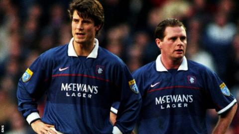 Brian Laudrup and Paul Gascoigne in their Rangers days