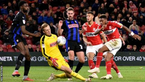 Britt Assombalonga of Middlesbrough has his shot saved by Marek Rodak