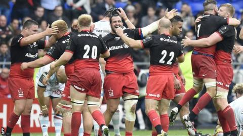 Saracens celebrate the final whistle