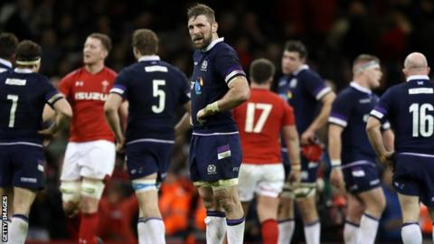 Scotland captain John Barclay at full-time in Cardiff