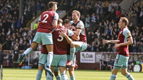 Burnley celebrate scoring against Leicester on Saturday