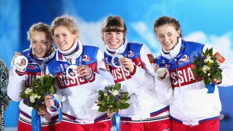Olga Zaitseva, Yana Romanova, Ekaterina Shumilova and Olga Vilukhina of Russia