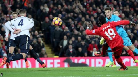 Sadio Mane scores Liverpool's scored