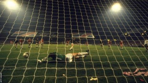 Scotland inflicted further disappointment for Wales in 1985 as Davie Cooper's late penalty secured a draw which eliminated Mike England's side in the 1986 World Cup qualifiers.