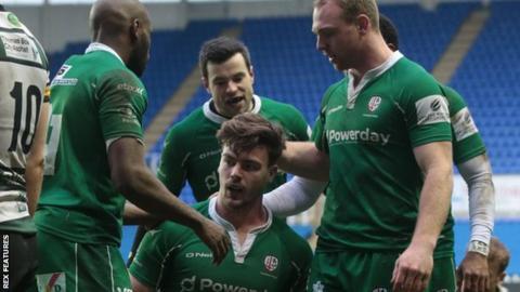 London Irish in Championship action