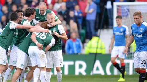 The Hibs players celebrate Jason Cummings' strike that put them 1-0 up against Rangers